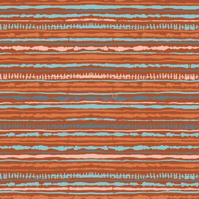 Naadloos vectorshibori band-kleurstof patroon van warme kleuren Hand het schilderen stoffen - knoestige batik royalty-vrije illustratie