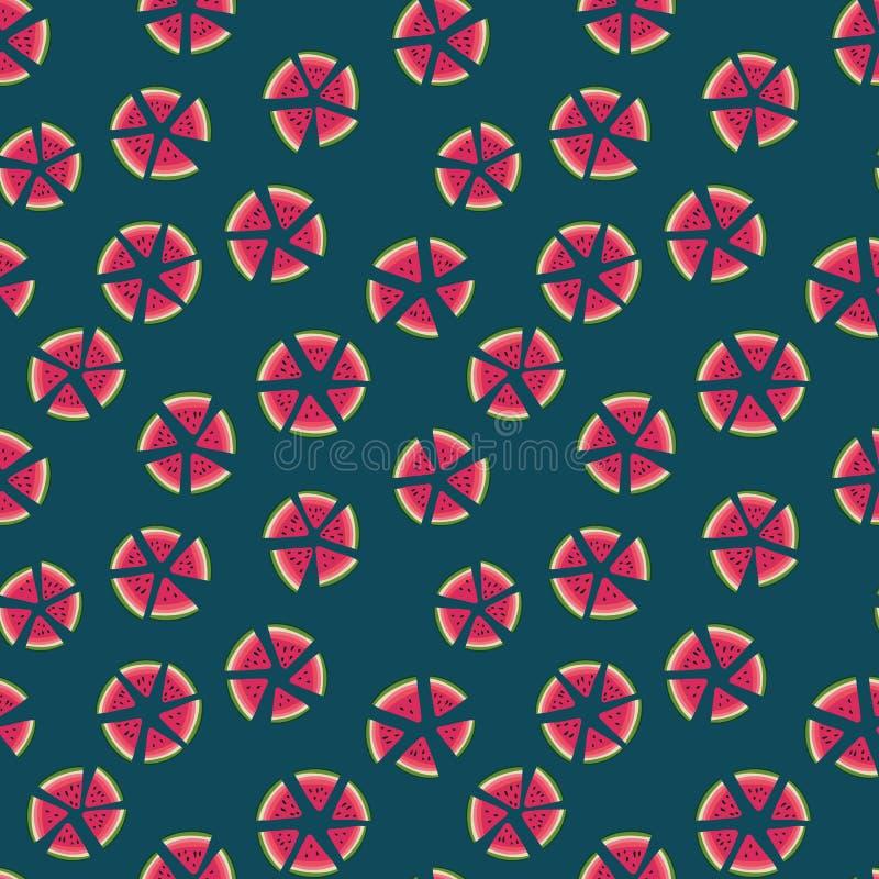 Naadloos vectorstippenpatroon met watermeloenplakken op donkere achtergrond royalty-vrije illustratie
