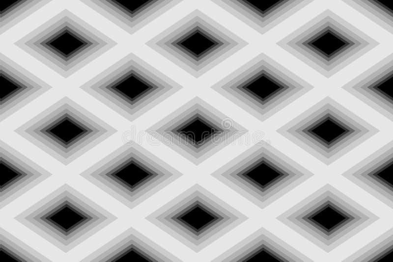 Naadloos Veelhoekig Zwart-wit Diamond Pattern Geometrische abstracte achtergrond Geschikt voor textiel, stof, verpakking en Web d stock illustratie