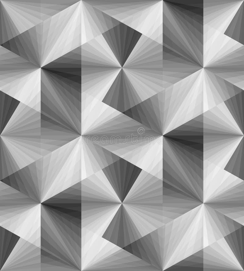 Naadloos Veelhoekig Zwart-wit Transparant Patroon Optische illusie van Volume en Diepte royalty-vrije illustratie