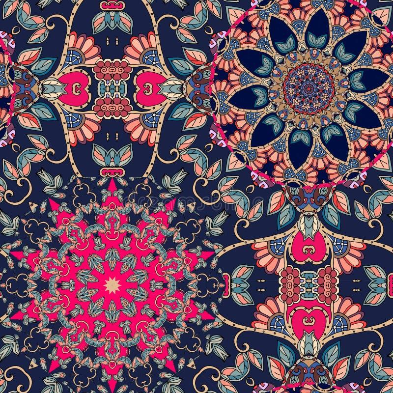 Naadloos veelkleurig vectorpatroon met gestileerde bloemen - mandalas stock illustratie