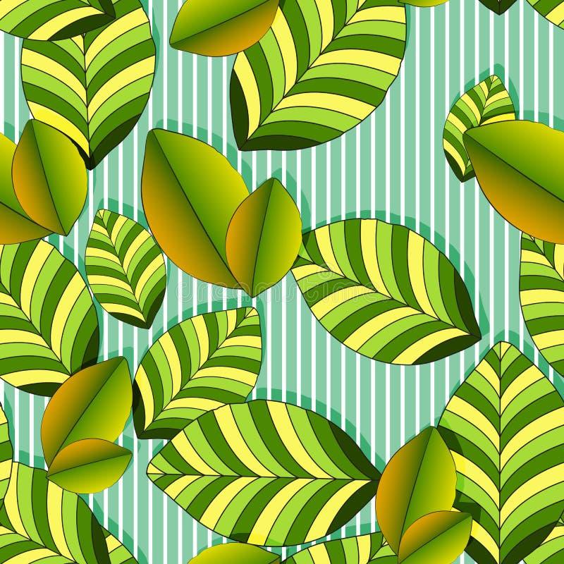 Naadloos vegetatief patroon van gestreepte groen-gele grote bladeren, witte gestreepte groene achtergrond, helder theeblad stock illustratie