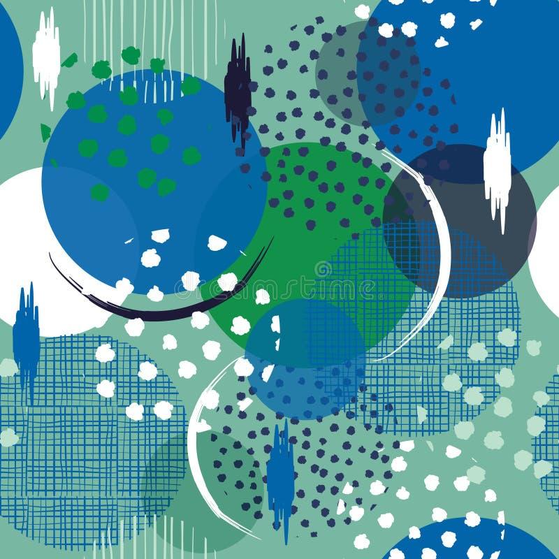 Naadloos velen patroon in grote stippen Vul met getrokken hand in stock illustratie