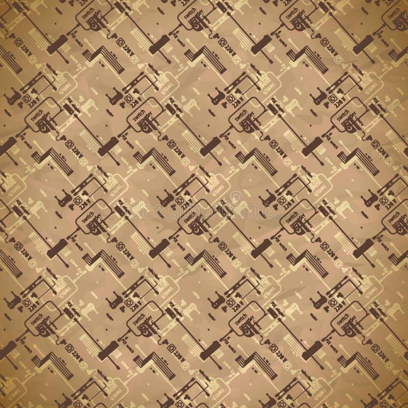 Naadloos versleten textielpatroon van materiaal en kringen voor kabeltelevisie vector illustratie