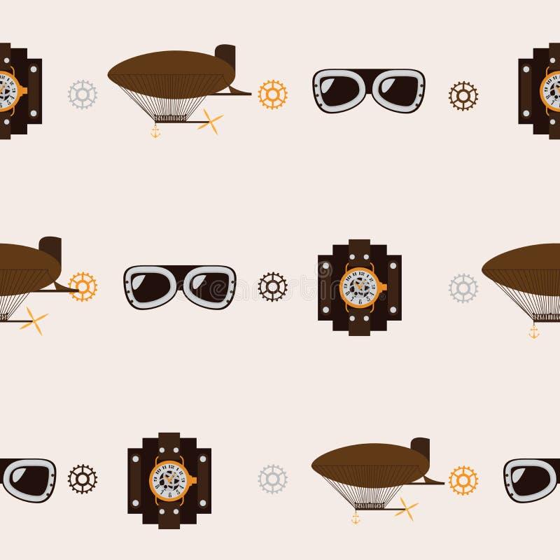 Naadloos vierkant patroon met steampunktoebehoren zoals ouderwetse dirigible, vliegeniersglazen en horlogeklokken op beige backgr stock illustratie