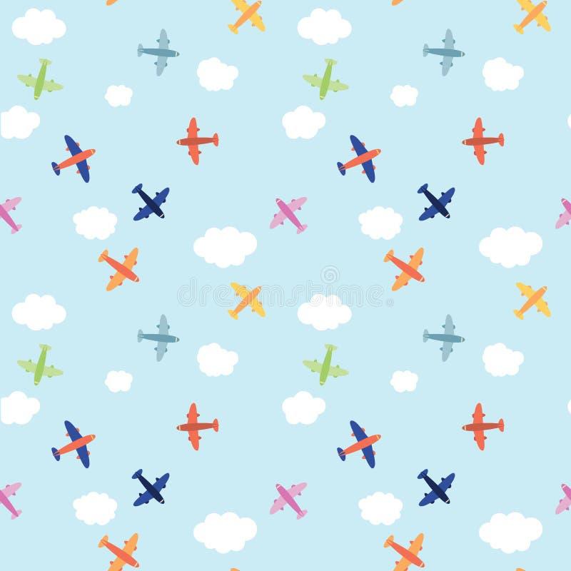 Naadloos vliegtuigpatroon stock illustratie