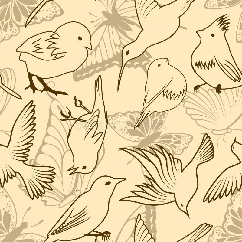 Naadloos vogel en vlinderpatroon royalty-vrije illustratie