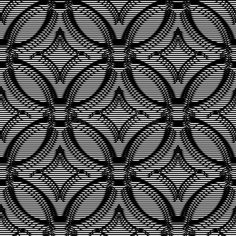 Naadloos volumetrisch patroon als achtergrond van lijnen Zwart-wit optische illusieart. royalty-vrije illustratie