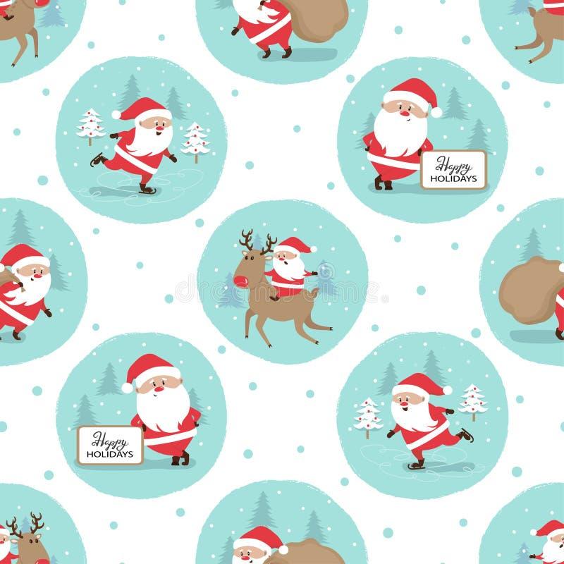Naadloos Vrolijk Kerstmispatroon met leuke Santa Claus stock illustratie