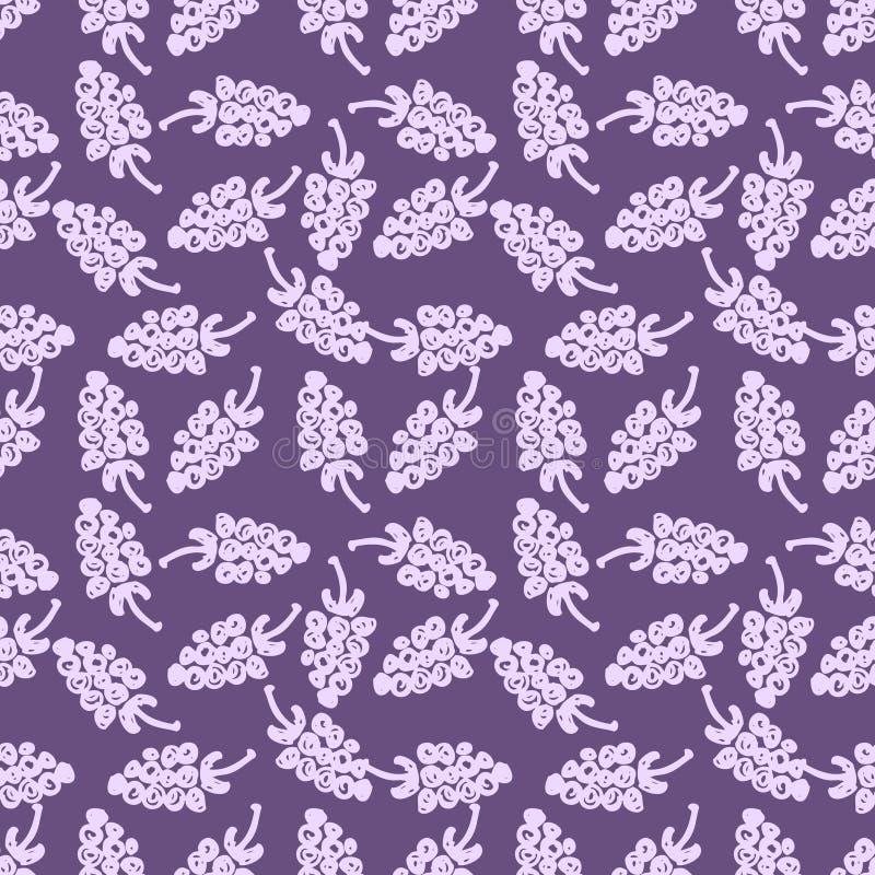 Naadloos vruchten vectorpatroon, achtergrond met bessen op de blauwe achtergrond De tekening van de handschets royalty-vrije illustratie