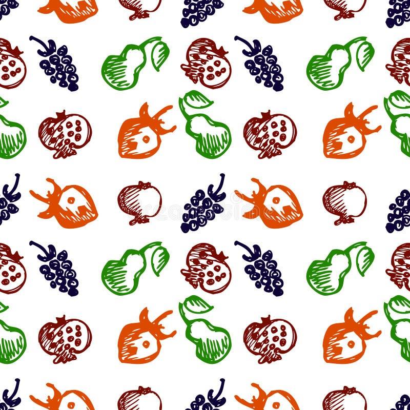 Naadloos vruchten vectorpatroon, achtergrond met kleurrijke aardbeien, granaatappels, peren en braambessen De tekening van de han vector illustratie