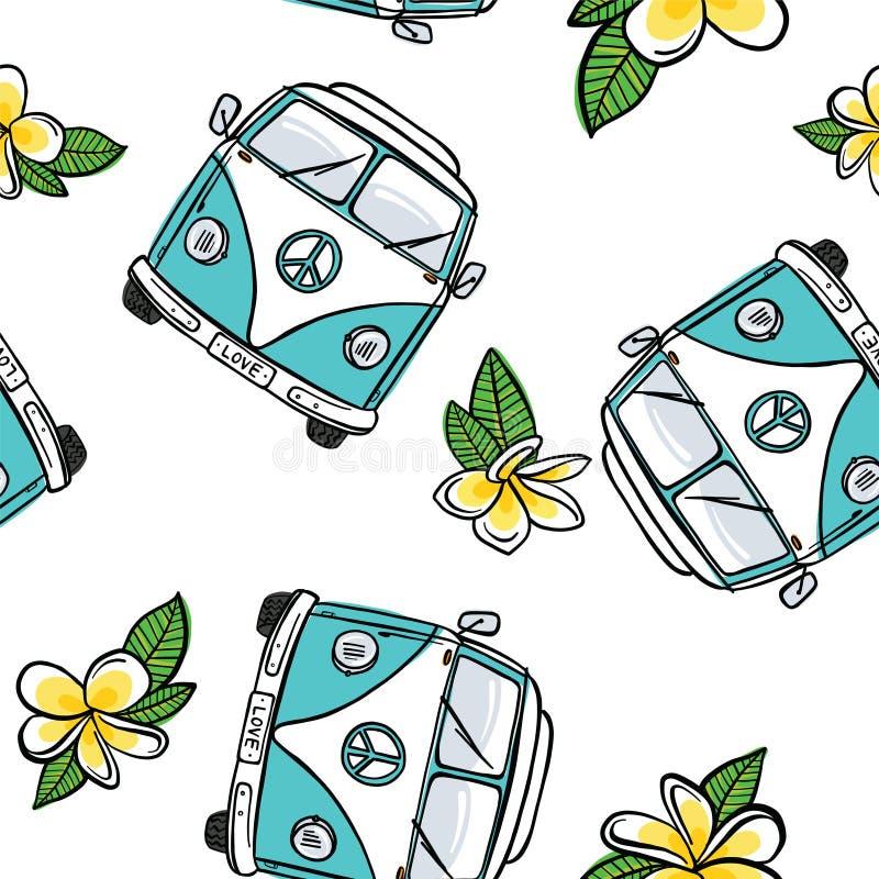 Naadloos VW Kombi Frangipani - Aqua stock illustratie