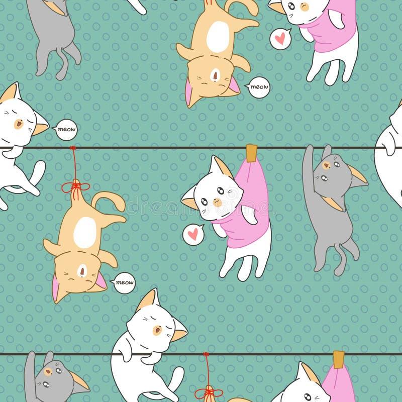 Naadloos was weinig kat gehangen patroon vector illustratie