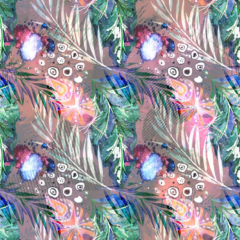Naadloos waterverf abstract patroon Kleurrijke bladeren, veren op grijze achtergrond royalty-vrije illustratie