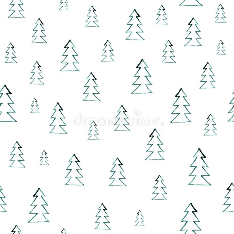 Naadloos waterverf bospatroon Groene bomen op witte achtergrond Abstracte waterverfillustratie kan worden gebruikt voor stock illustratie