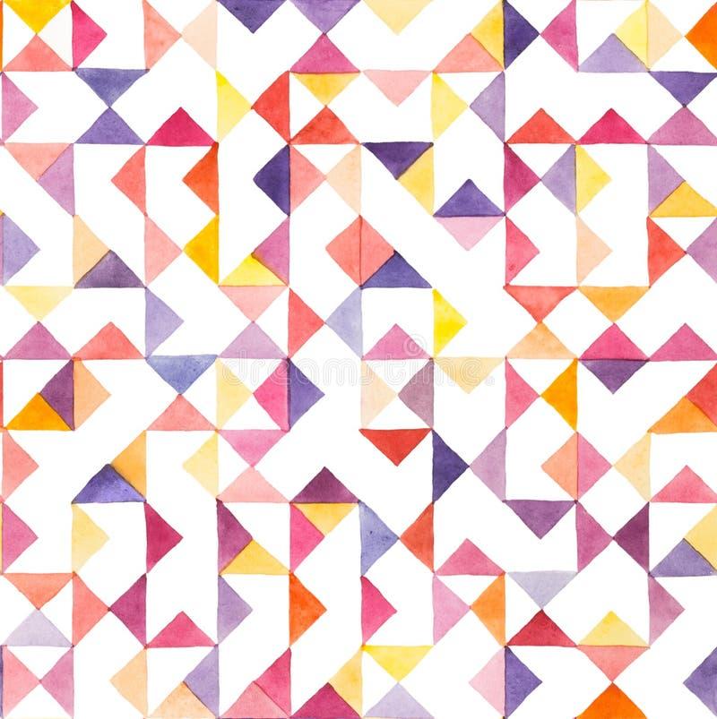 Naadloos waterverf geometrisch patroon stock illustratie