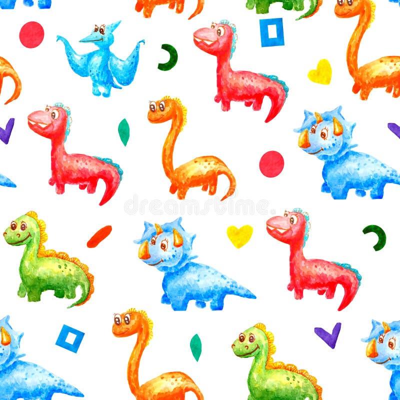 Naadloos waterverfpatroon De jonge dinosaurussen glimlachen en kijken in ??n richting tegen de achtergrond van verschillende vorm royalty-vrije illustratie