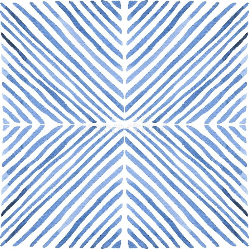 Naadloos waterverfpatroon Hand-drawn verflijnen Uitstekende geo stock illustratie