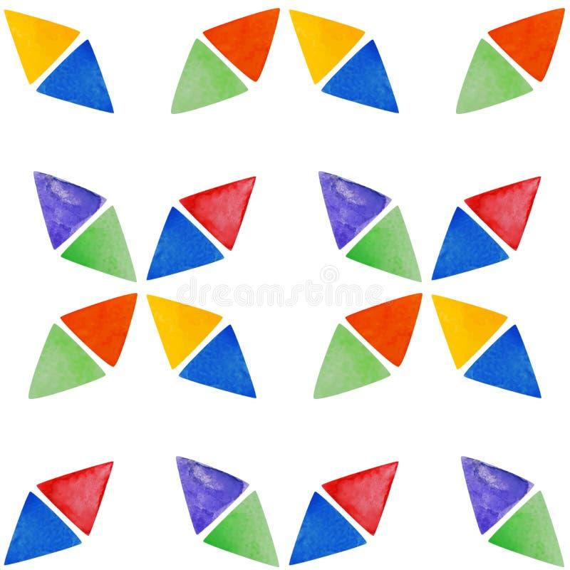 Naadloos waterverfpatroon met abstracte driehoeken stock illustratie