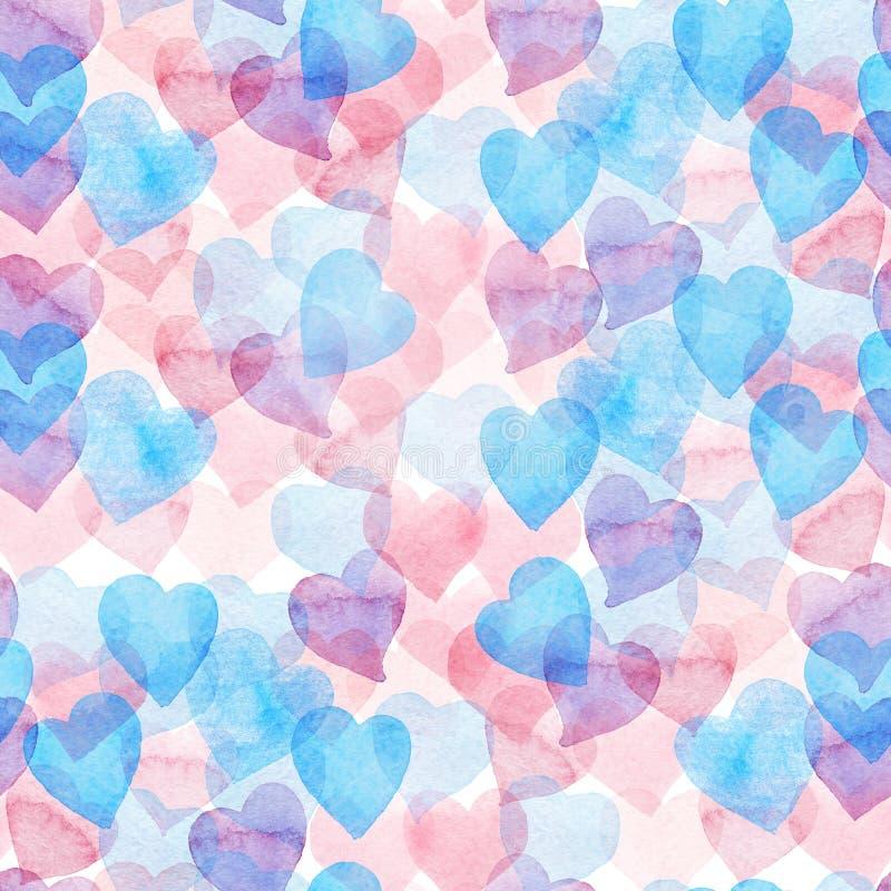 Naadloos waterverfpatroon met kleurrijke harten - doorboor, purple, blauwe tinten stock illustratie