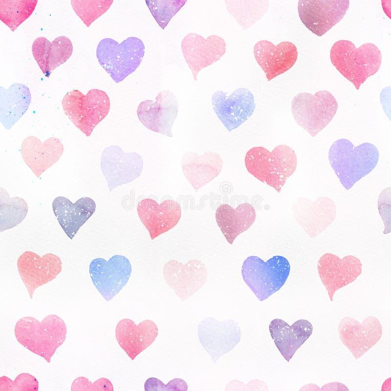 Naadloos waterverfpatroon met kleurrijke harten - romantische lichte en zachte tinten van roze en rood stock illustratie