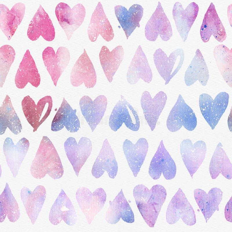 Naadloos waterverfpatroon met regelmatige kleurrijke harten stock afbeelding