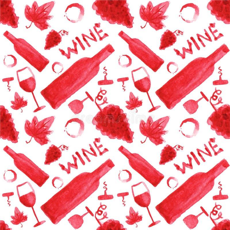 Naadloos waterverfpatroon met wijnmateriaal op royalty-vrije illustratie