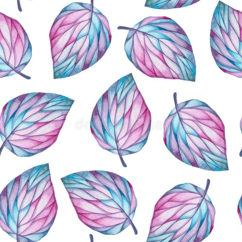 Naadloos waterverfpatroon van grote bladeren op een witte achtergrond vector illustratie