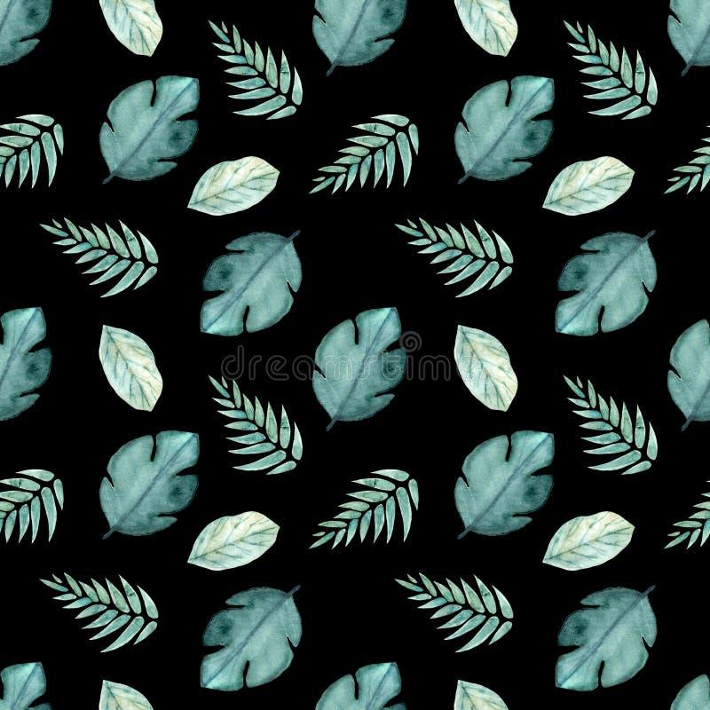 Naadloos waterverfpatroon van tropische bladeren royalty-vrije illustratie
