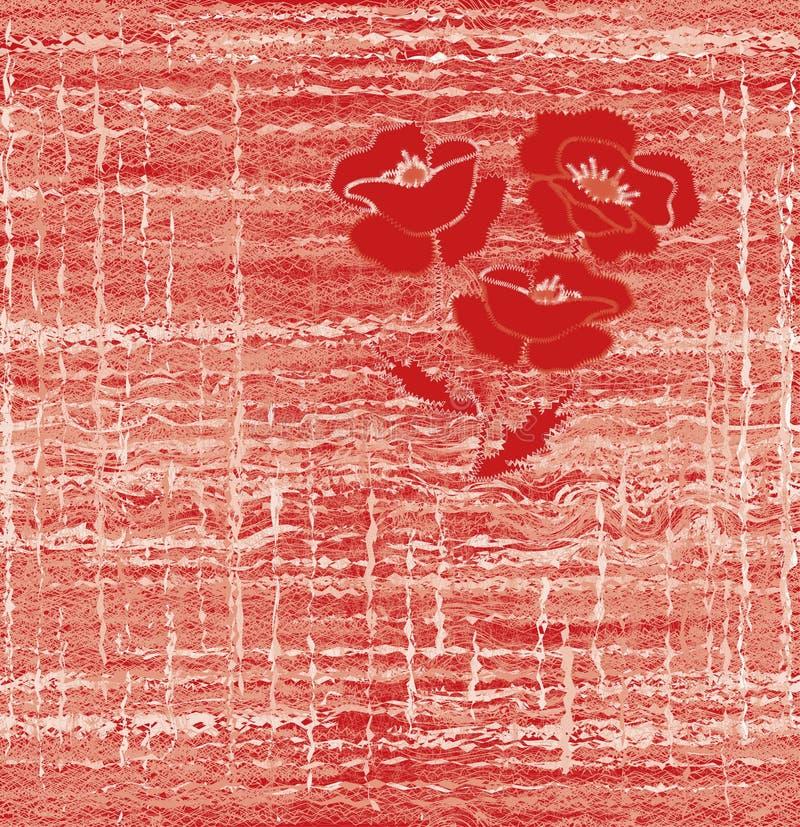 Naadloos weefselpatroon met borduurwerk van rode papaver op grunge gestreepte achtergrond royalty-vrije illustratie