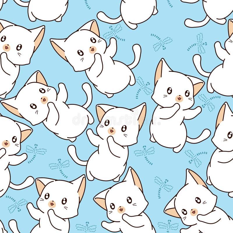 Naadloos weinig kat en libelpatroon vector illustratie