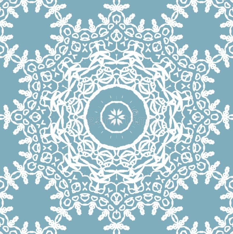 Naadloos wit blauw grijs het kantpatroon van het cirkelornament vector illustratie