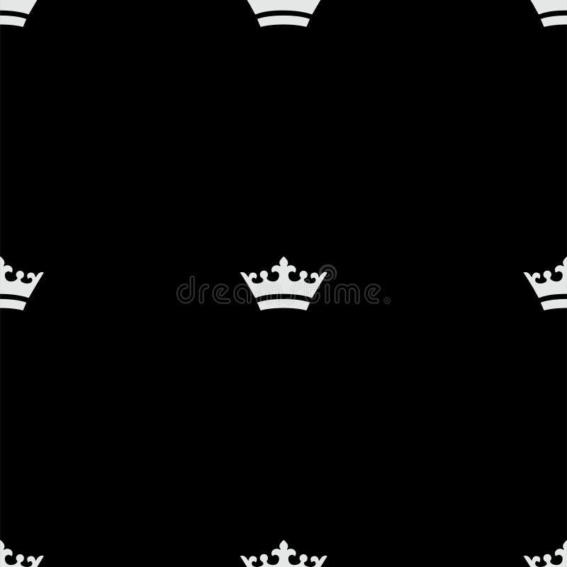 Naadloos wit kroonpatroon Zwarte achtergrond stock fotografie
