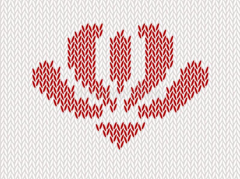 Naadloos wol gebreid patroon met rode bloem op witte achtergrond royalty-vrije illustratie