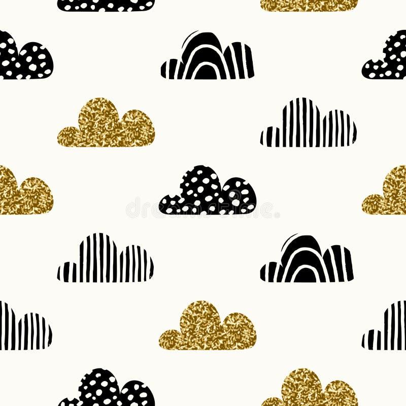 Naadloos wolkenpatroon vector illustratie