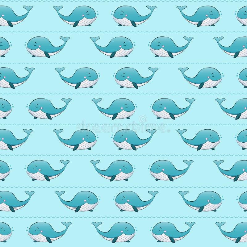 Naadloos zeevaart marien patroon met walvissen in de oceaan vector illustratie