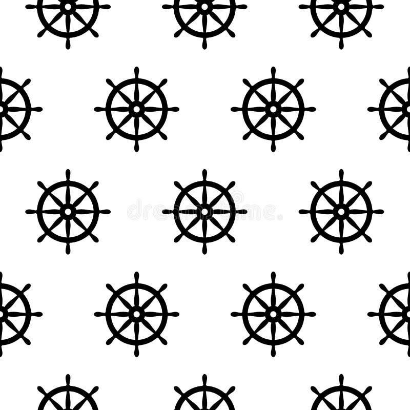Naadloos zeevaartpatroon met schipwielen Ontwerpelement voor behang, de uitnodiging die van de babydouche, verjaardagskaart, scra vector illustratie