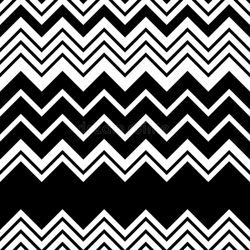 Naadloos zigzagpatroon Abstracte Zwart-witte Streep en Lin stock illustratie