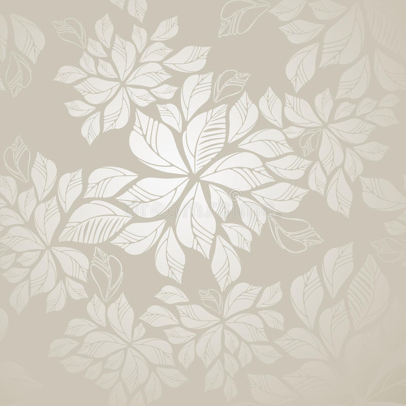 Naadloos zilveren bladerenbehang stock illustratie