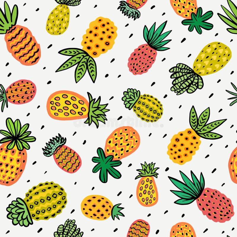 Naadloos zonnig ananaspatroon Decoratieve Ananas met verschillende texturen in warme kleuren Exotische vruchten achtergrond vector illustratie