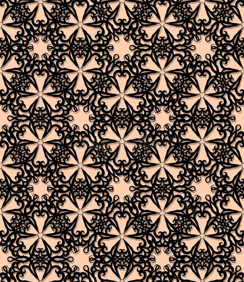 Naadloos zwart decoratief patroon vector illustratie