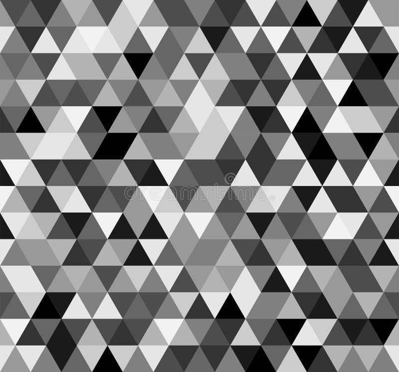 Naadloos zwart wit abstract patroon Geometrische die druk uit driehoeken wordt samengesteld Zwart-wit achtergrond royalty-vrije illustratie