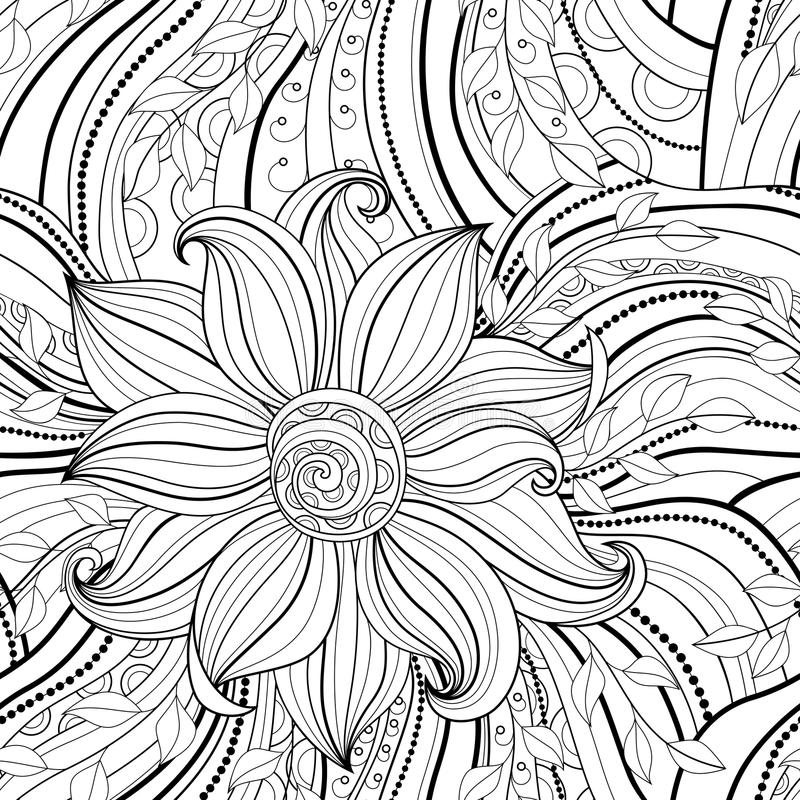 Naadloos zwart-wit bloemenpatroon royalty-vrije illustratie