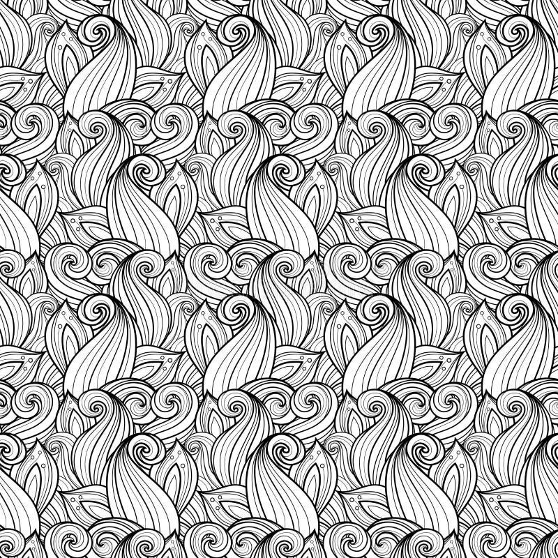 Naadloos zwart-wit bloemenpatroon stock illustratie