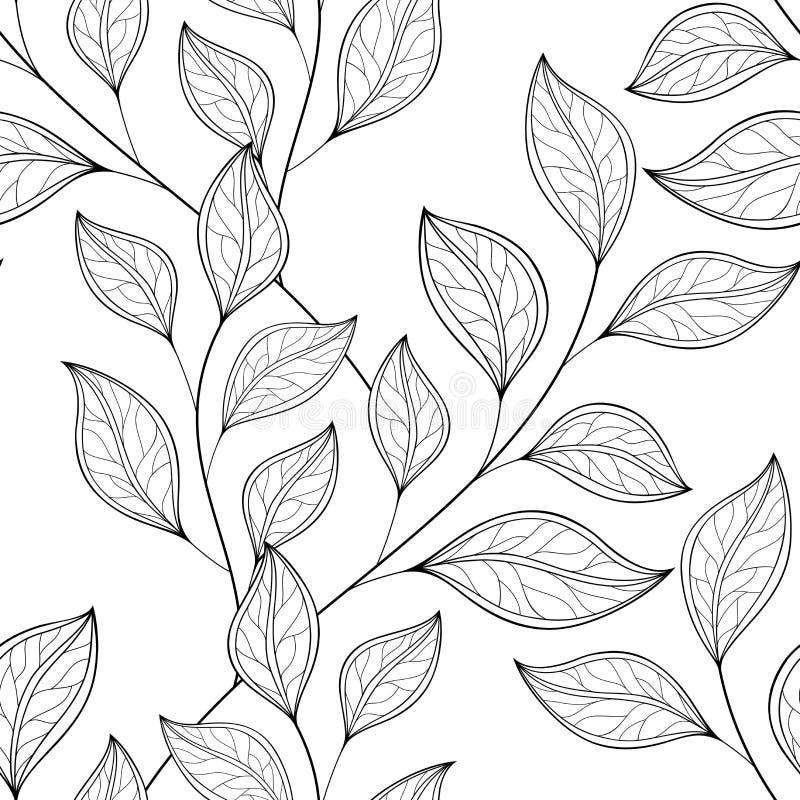 Naadloos Zwart-wit Bloemenpatroon (Vector) royalty-vrije illustratie