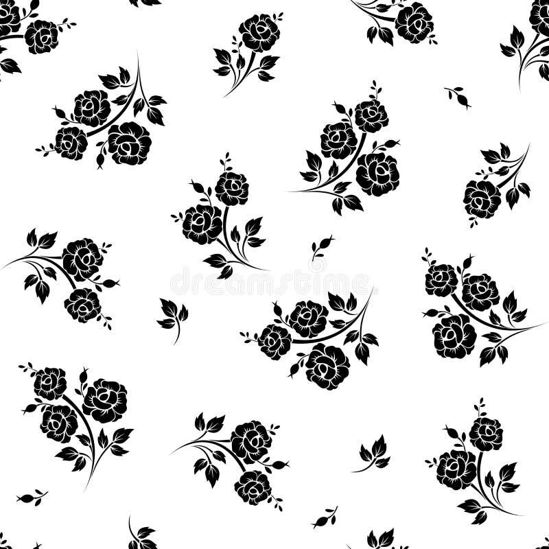 Naadloos zwart-wit bloemenpatroon Vector illustratie royalty-vrije illustratie