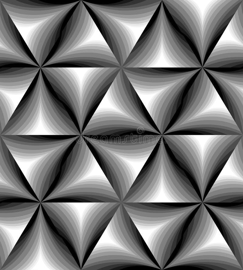 Naadloos Zwart-wit Gebogen Driehoekspatroon die zacht van licht aan dark flikkeren Visueel Volumeeffect stock illustratie