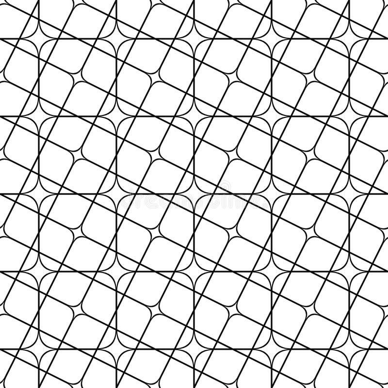 Naadloos zwart-wit hoekig gebogen netpatroon vector illustratie