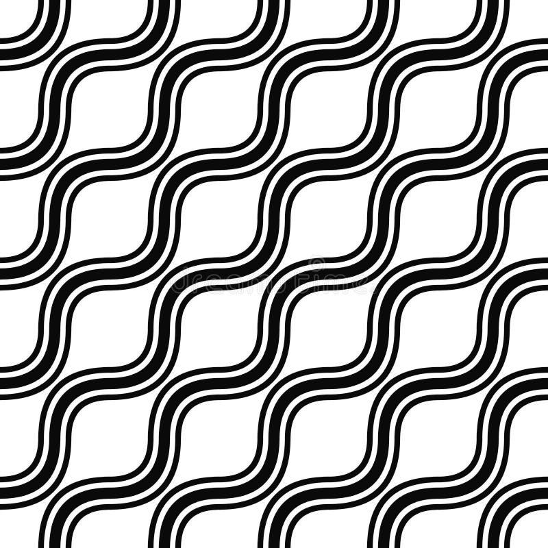 Naadloos zwart-wit hoekig golfpatroon stock illustratie