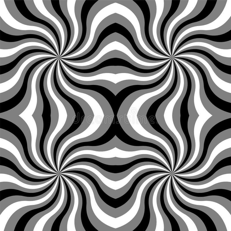 Naadloos Zwart-wit Krullenpatroon Zwart-wit Geometrische Abstracte Achtergrond royalty-vrije illustratie